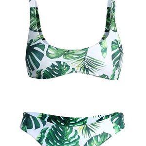 Tropical Women's Bikini White Green Swim Suit NWT